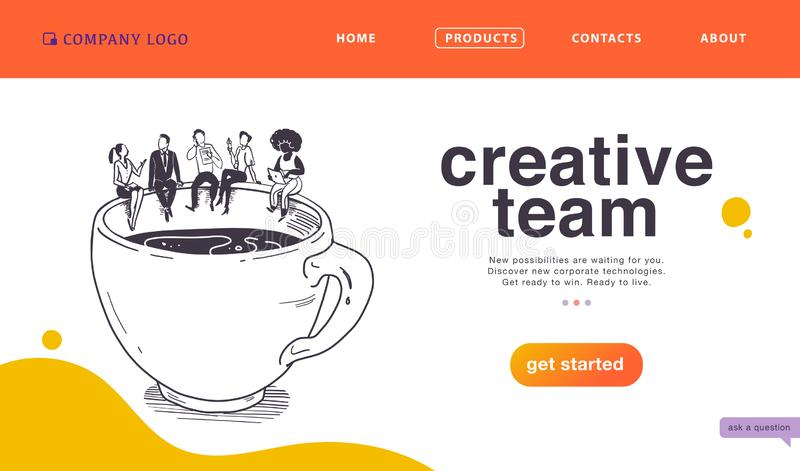 SEITEN-Konzept des Entwurfes des Vektors Landungsfür kreative Teamarbeit des Geschäfts, Erfolgslösungen, Abkommen u. Unterstützun vektor abbildung