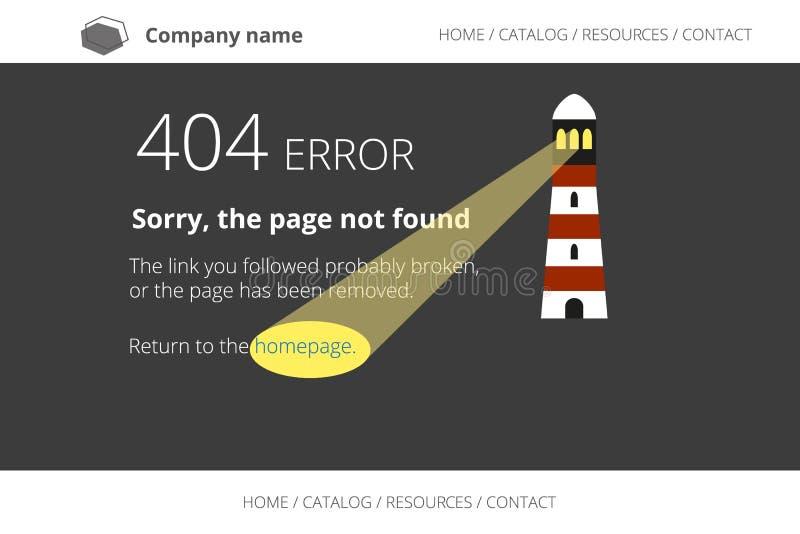 Seiten-nicht gefundener Fehler 404 mit Leuchtturm auf Dunkelheit lizenzfreie abbildung
