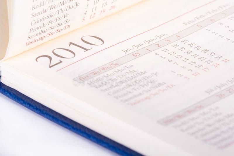 Seitenabschluß mit 2010 Kalendern oben stockbild