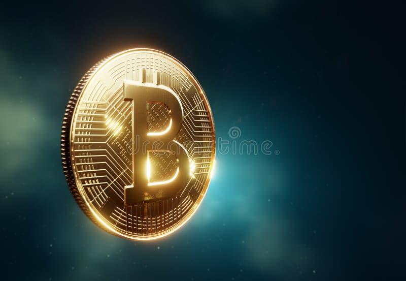 Seitenansicht Bitcoin-Münze vektor abbildung
