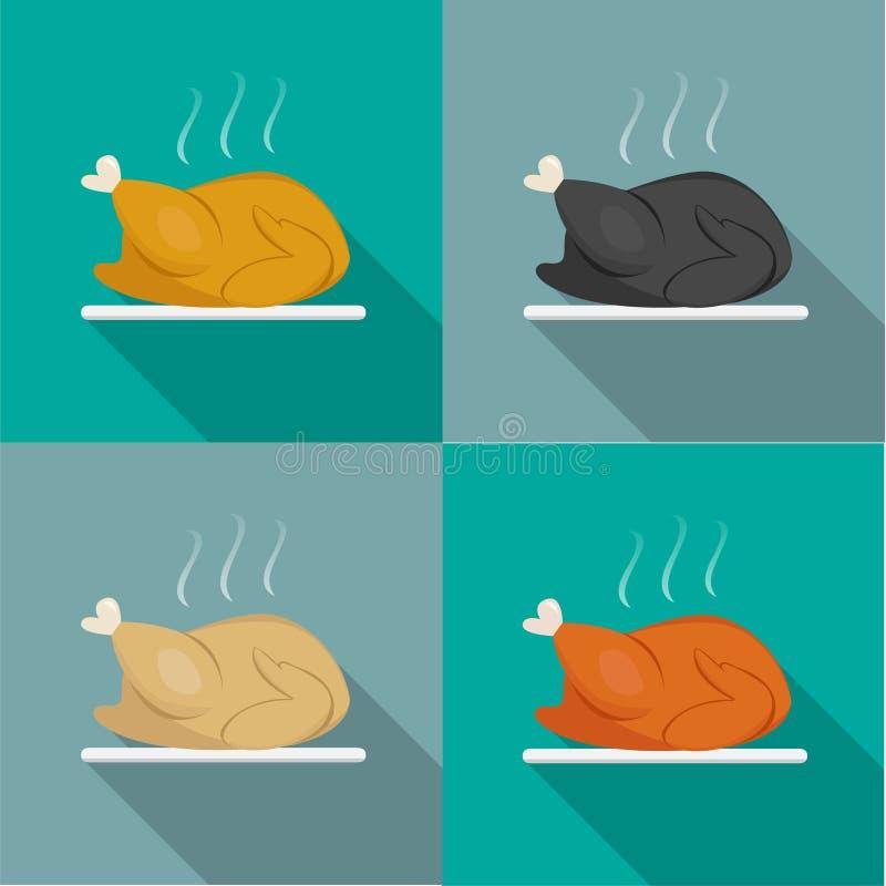 Seitenansicht, Braten-ganzes Huhn, die Türkei, Ente lizenzfreie abbildung