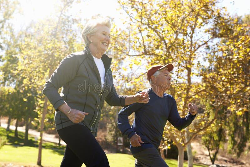 Seitenansicht der älteren Paar-Energie, die durch Park geht stockbild