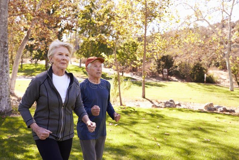 Seitenansicht der älteren Paar-Energie, die durch Park geht lizenzfreies stockbild