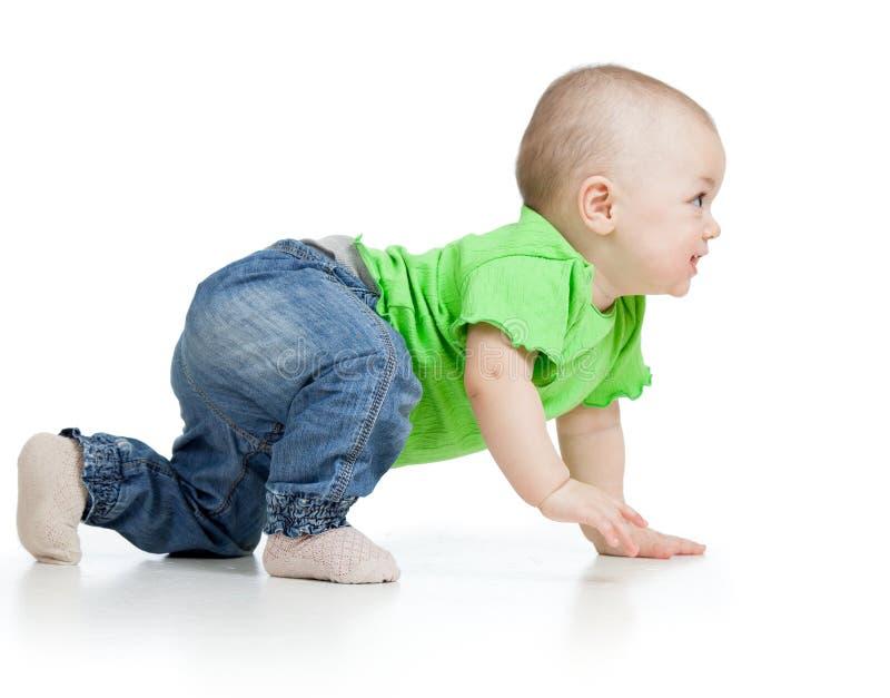 Seitenansicht des Babys kriechend lokalisiert auf Weiß stockfotos