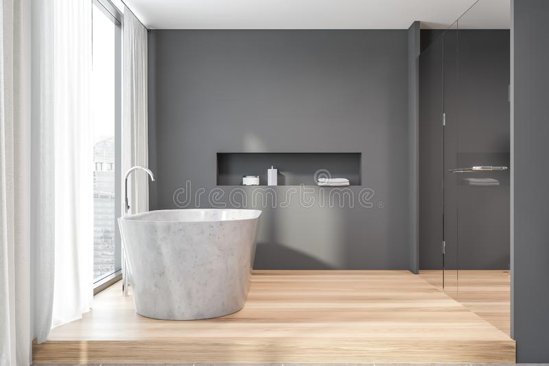 Seitenansicht des grauen Badezimmers des Dachbodens mit Steinwanne stock abbildung