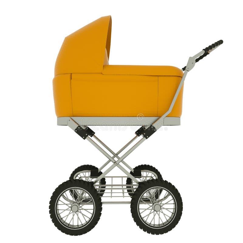 Seitenansicht des Kinderwagens lokalisiert auf wei?em Hintergrund Abbildung 3D lizenzfreie abbildung