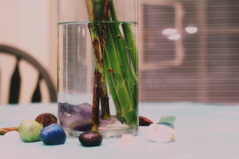 Seitenansicht des Kreises des Kristalles um Blumenvase stockfoto