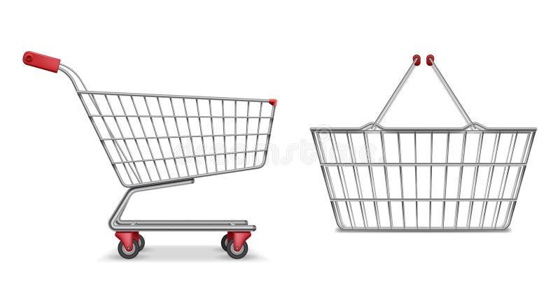 Seitenansicht des leeren metallischen Supermarktwarenkorbes lokalisiert Realistischer Supermarktkorb, Kleinhandwagenvektor vektor abbildung