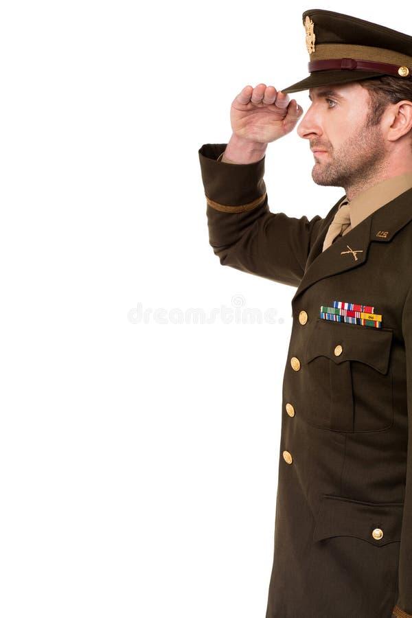 Seitenansicht des Militäroffiziergrußes stockbild