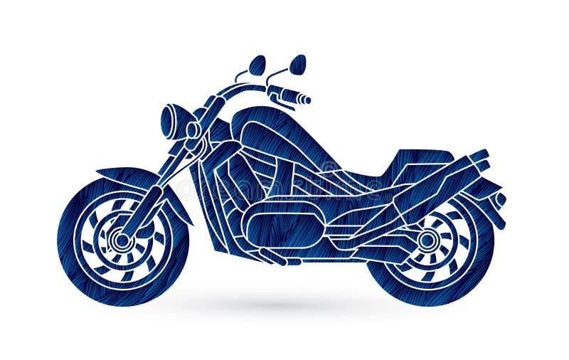 Seitenansicht des Motorrads, Zerhacker stock abbildung