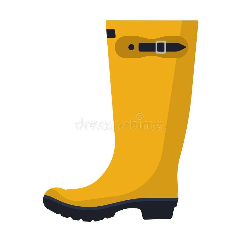Seitenansicht des Rain-Bootvektors Wetterschutz für Autos Wasserdichte Gummi Schuhputzkleidung im Freien Gelbe Kleidung stock abbildung