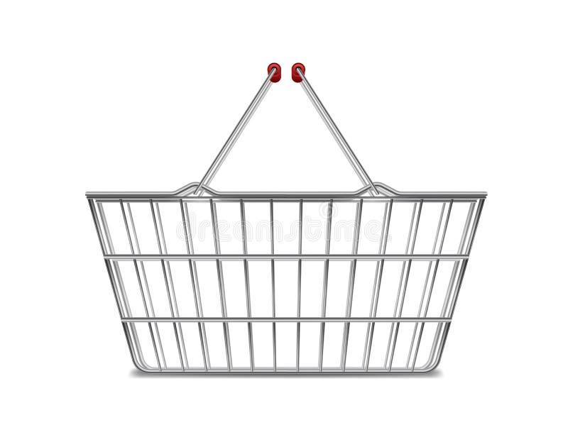 Seitenansicht des realistisches Metallleere Supermarkt-Einkaufskorbs lokalisiert auf Weiß Korbmarktwarenkorb für Verkauf mit Grif vektor abbildung
