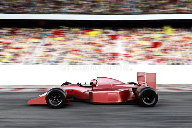 Seitenansicht des roten Rennwagens der Motorsporte stock abbildung