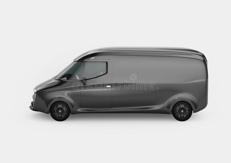 Seitenansicht des schwarzen elektrisch betriebenen Lieferwagens mit Kopienraum auf dem Körper lizenzfreie abbildung