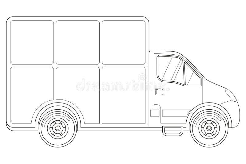 Seitenansicht des Schwarzweiss-Lieferwagens stock abbildung