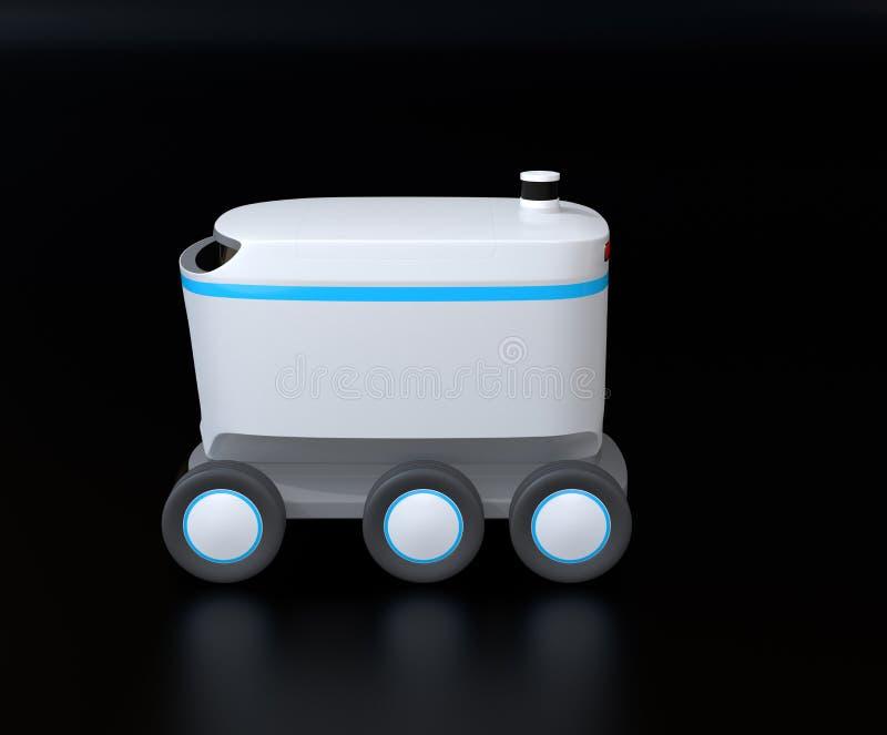 Seitenansicht des selbst-treibenden Lieferungsroboters auf schwarzem Hintergrund vektor abbildung
