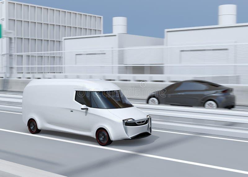 Seitenansicht des weißen selbst-treibenden Lieferwagens, der auf Landstraße fährt vektor abbildung