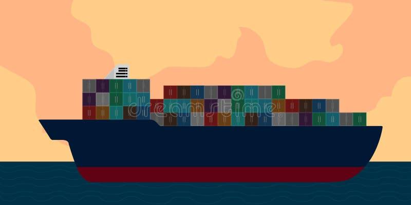 Seitenansicht eines Frachtschiffs in einer Landschaft lizenzfreie abbildung