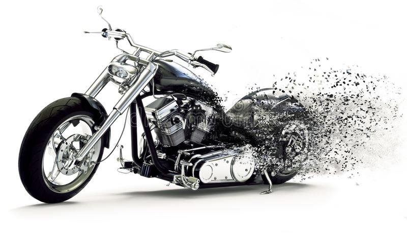 Seitenansicht eines kundenspezifischen schwarzen Motorrades mit Streuungseffekten auf einen weißen Hintergrund vektor abbildung