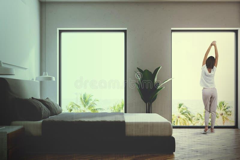 Seitenansicht eines weißen Schlafzimmers getont stockfoto