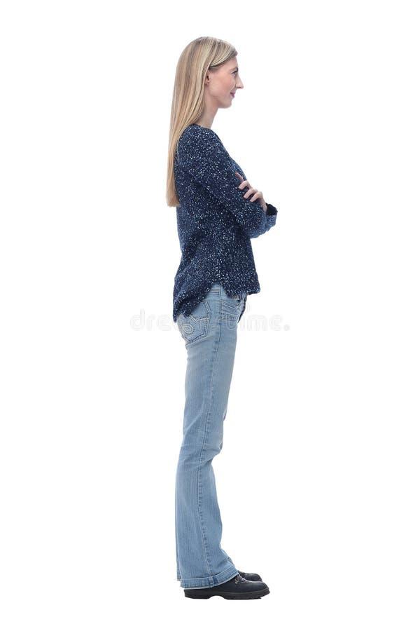 Seitenansicht moderne junge Jeansfrau mit Kamera stockbild