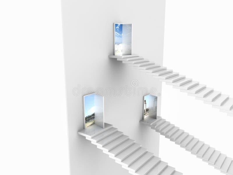 Seitenansicht von drei weißen Treppen, die aufkommen, um sich zu öffnen lizenzfreie abbildung