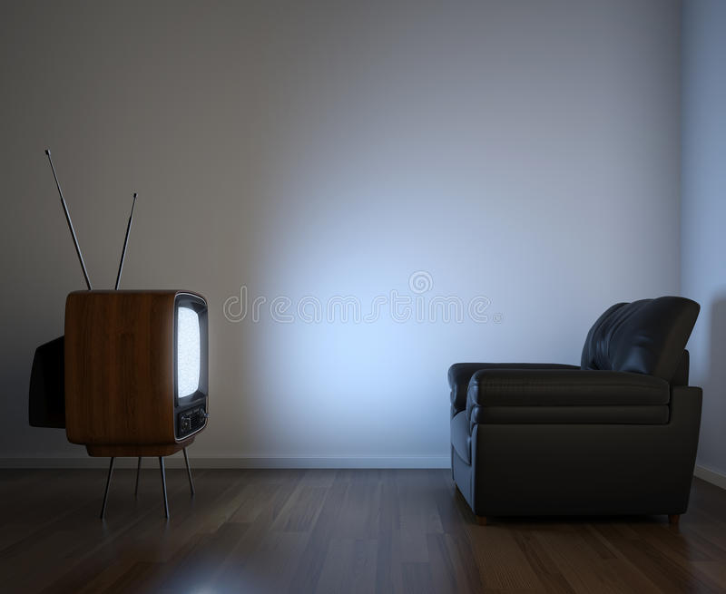 Seitenansicht von Fernsehapparat und von Couch lizenzfreie abbildung