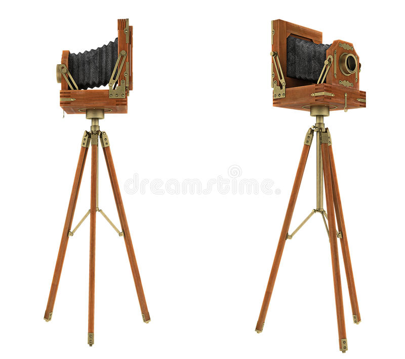 Seitenansichten der Kamera des großen Formats der Weinlese stockbilder