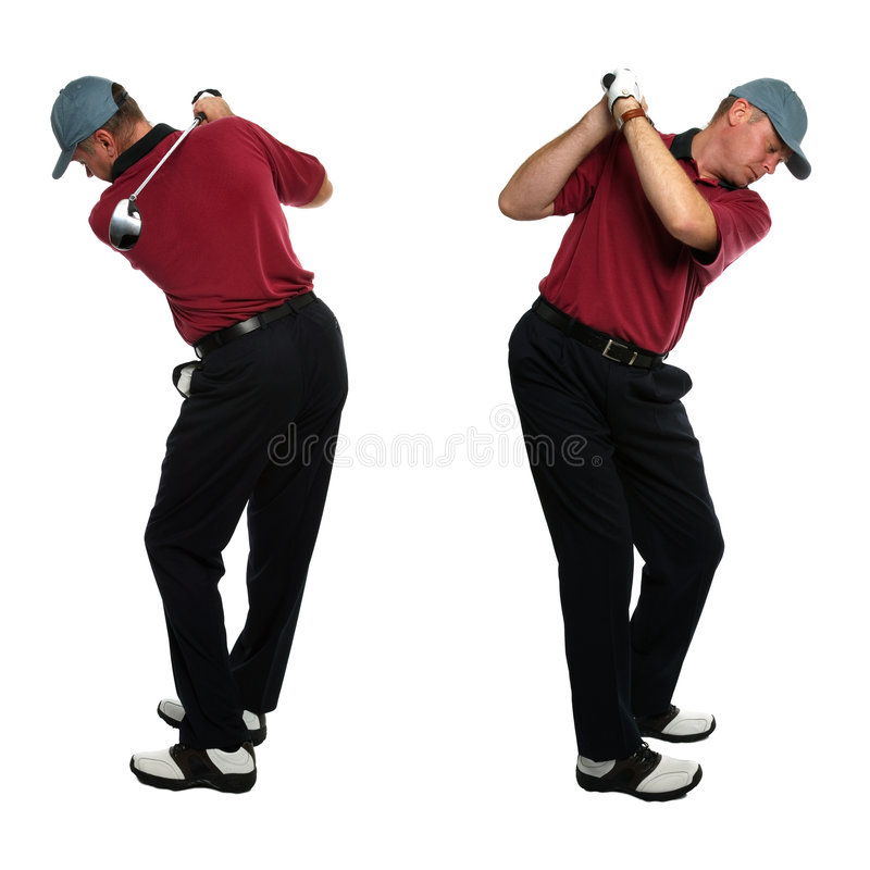 Seitenansichten des Golfspielers stockbild