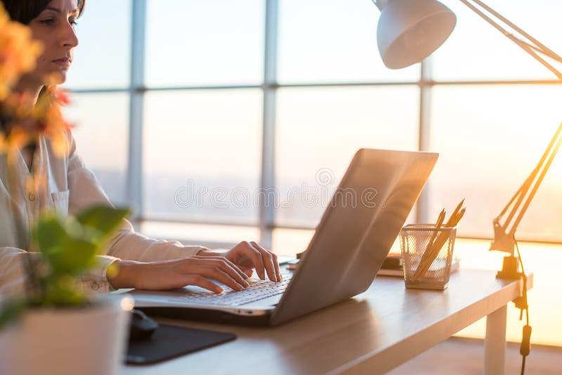 Seitenansichtfoto eines weiblichen Programmierers, der Laptop, Funktion, Schreiben, das Internet surfend am Arbeitsplatz verwende stockbild