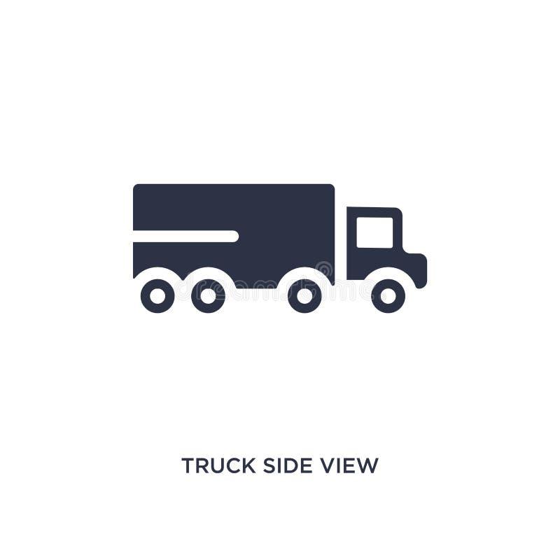 Seitenansichtikone des LKWs auf weißem Hintergrund Einfache Elementillustration von mechanicons Konzept vektor abbildung