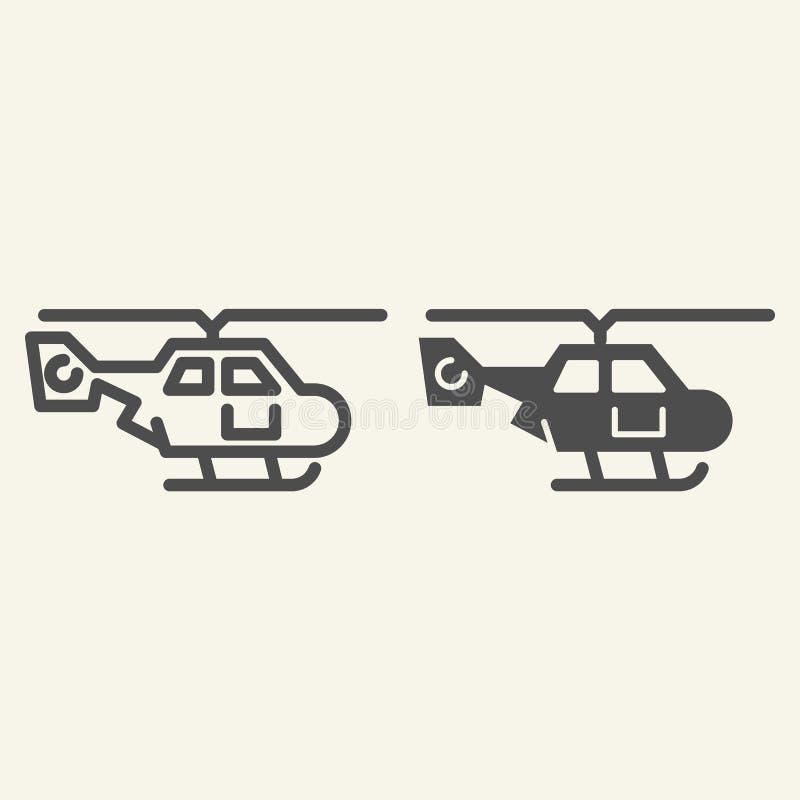 Seitenansichtlinie des Hubschraubers und Glyphikone Lufttransport-Vektorillustration lokalisiert auf Weiß Zerhackerentwurfsart lizenzfreie abbildung