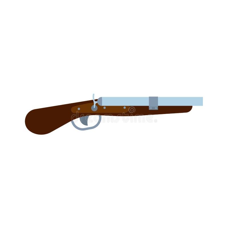 Seitenansichtmilitärkriegsentwurfszeichen der Schrotflinte Armeeausrüstungsgewalttätigkeits-Triebgewehr Polizeivektor-Ikonengeweh lizenzfreie abbildung