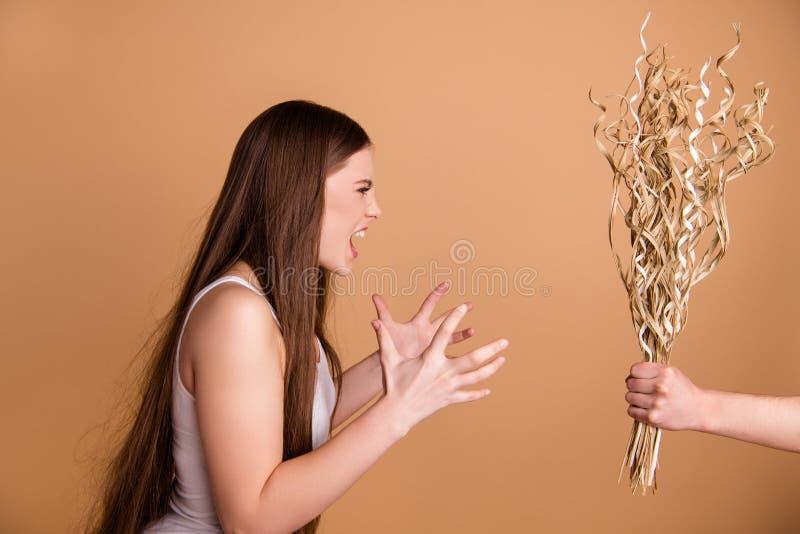 Seitenansichtporträt des Nahaufnahmeprofils netter attraktiver verrückter Dame, die Trockenblumesymbolzeichen von unordentlichem  lizenzfreie stockfotos