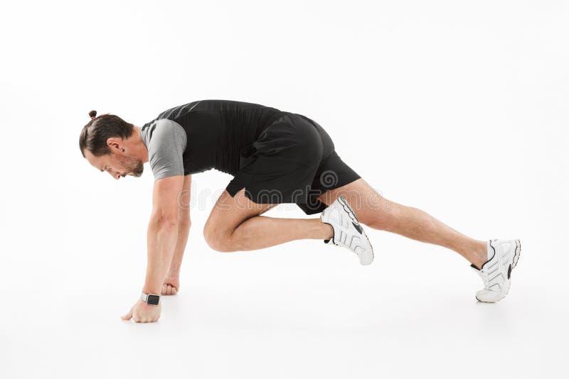 Seitenansichtporträt eines gesunden reifen Sportlers stockfoto