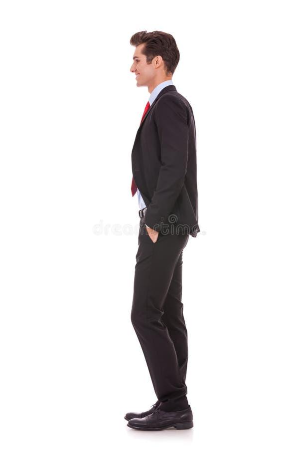 Seitenansichtprofil eines gut gekleideten Geschäftsmannes stockfotografie