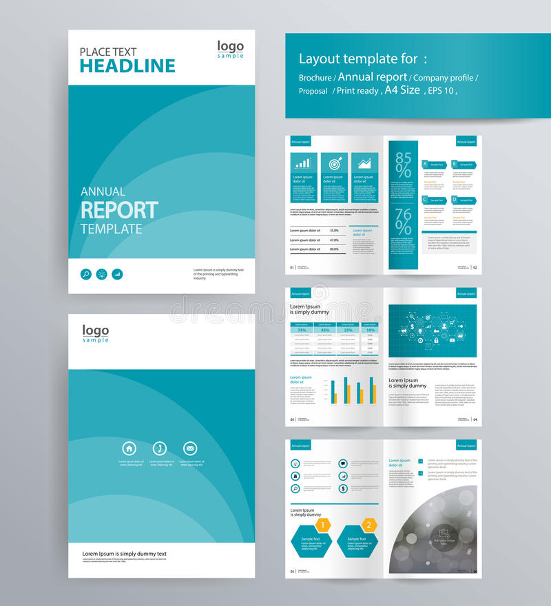 Seitenaufstellung für Unternehmensprofil, Jahresbericht und Broschürenschablone stock abbildung