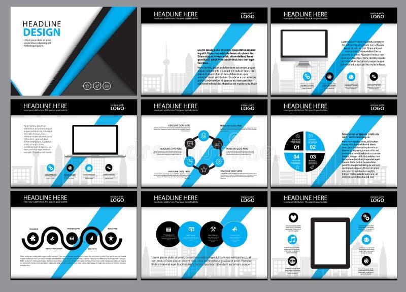 Seitenaufstellungs-Designschablone für Darstellung und Broschüre, Jahresbericht, Fliegerseite mit infographic Element vektor abbildung