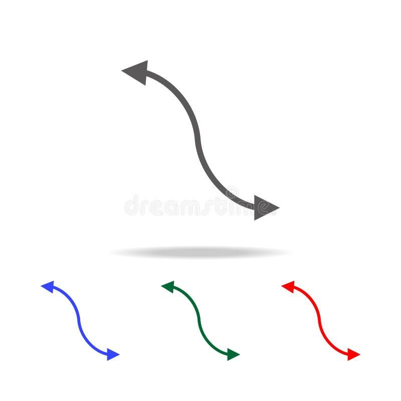 Seitenillustrationsikone des pfeiles 2 Elemente in den multi farbigen Ikonen für bewegliche Konzept und Netz apps Ikonen für Webs lizenzfreie abbildung