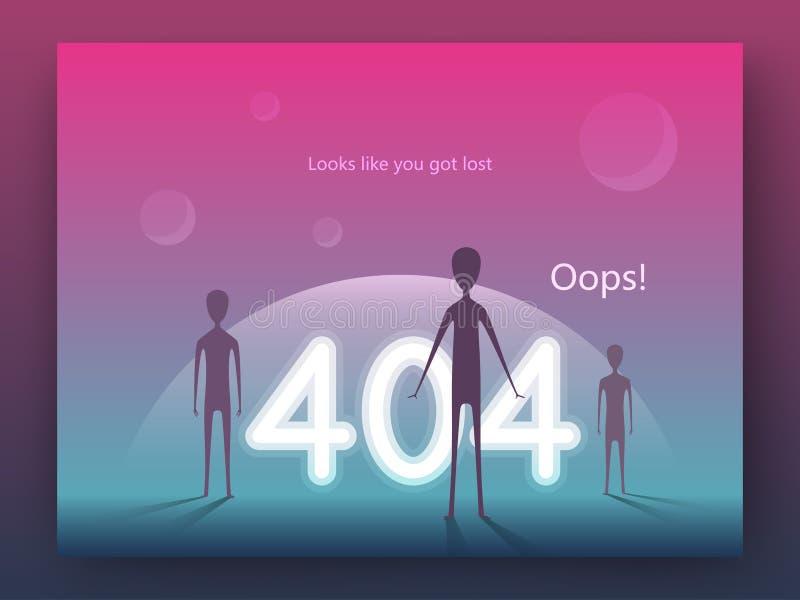 Seitenkonzept des Fehlers 404 Ankunft von Ausländern auf Erde in einer modernen flachen Art Schablone für Webseite ENV 10 lizenzfreie abbildung