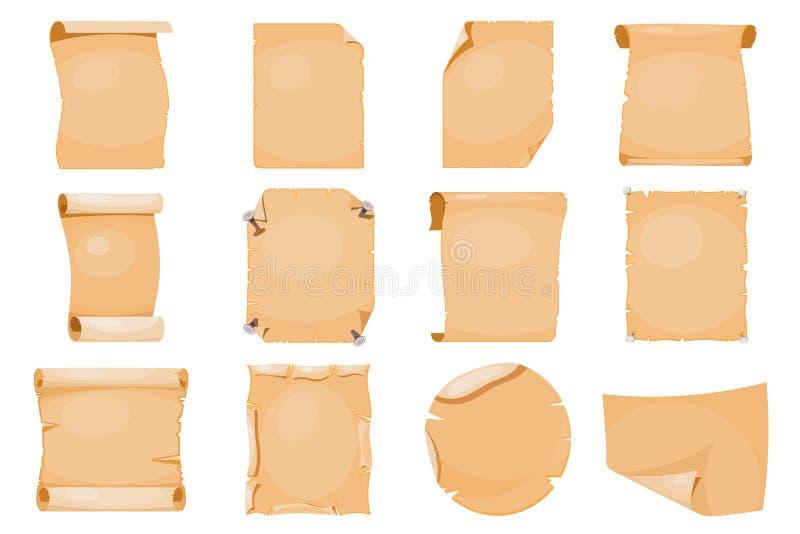Seitenpergamentdokumenten-Vektorillustration des alten Papierweinleseantikenpapyrusmanuskriptes der rollenrolle alten Retro- stock abbildung