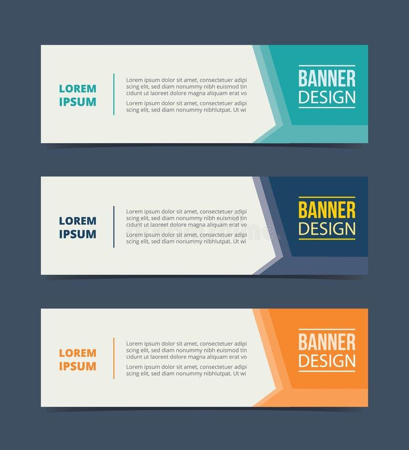 Seitenpfeilfahnen-Schablonenentwurf mit horizontalem Werbungsfahnenraum für Text stock abbildung