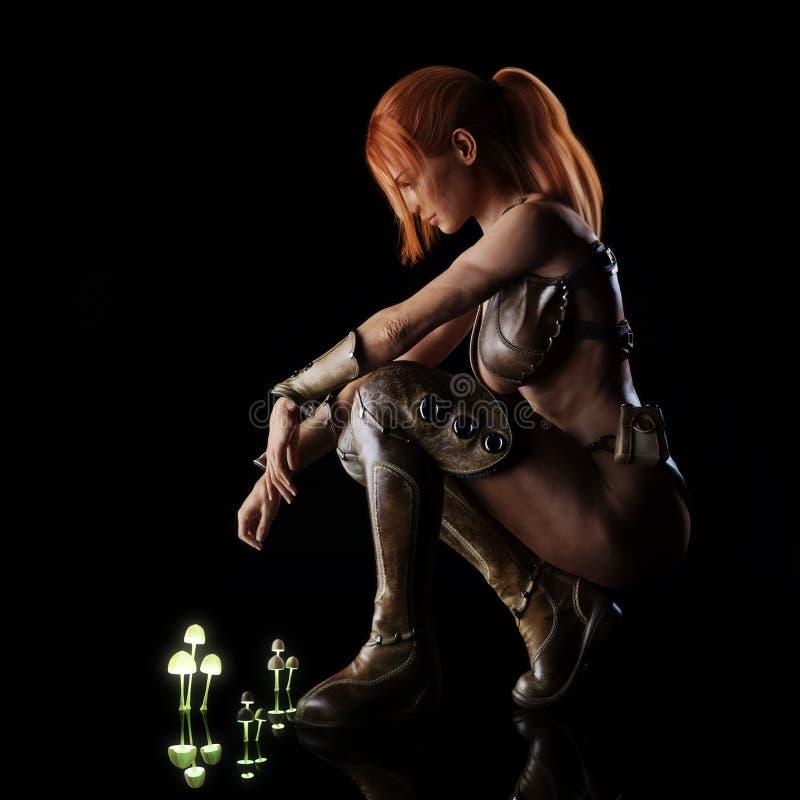 Seitenporträt einer roten vorangegangenen Kriegersfrau der Fantasie, die auf einer reflektierenden Oberfläche nach einer einzigar lizenzfreie abbildung