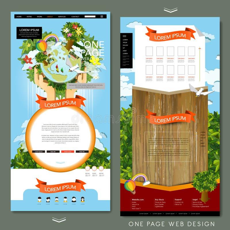 Seitenwebsite-Schablonendesign Eco-Konzeptes eins vektor abbildung