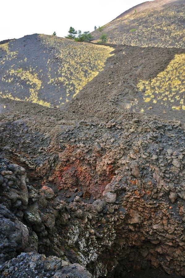 Seitlicher Krater vom Ätna, Sizilien lizenzfreie stockfotos