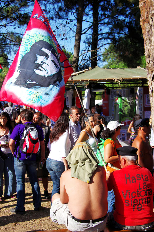 SEIXAL,PORTUGAL-SEPT 7 - Protesters with Flag Che Guevara. During the Avante festival, Quinta da Atalaia, Seixal, Portugal, September 7, 2013.The festival stock photo