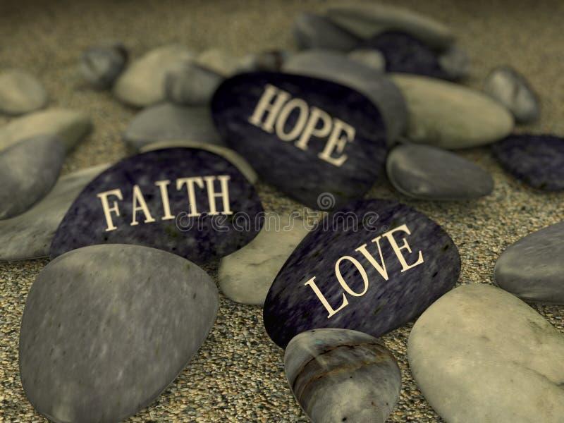 seixo 3d na esperança da fé do amor da mensagem da areia ilustração stock