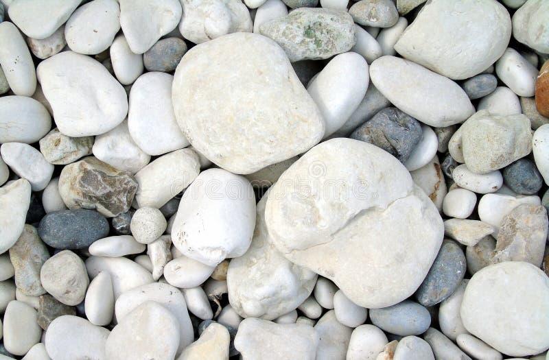 Seixos brancos e cinzentos em uma praia imagens de stock
