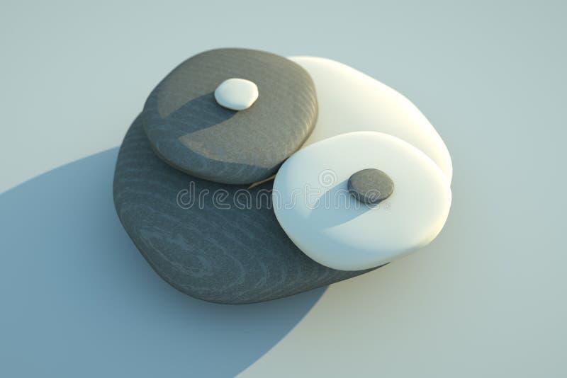 Seixos de Yin Yang ilustração stock