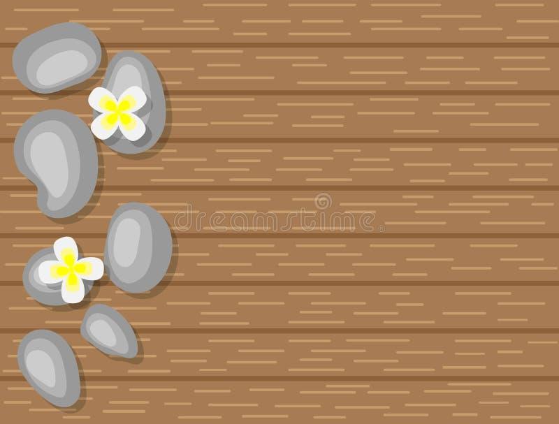 Seixos dos termas e flores brancas na opinião superior do fundo de madeira ilustração stock